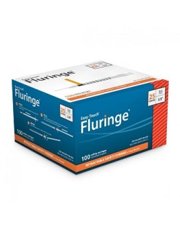 """EASYTOUCH FLURINGE MANUAL RETRACTABLE SAFETY SYRINGE W/FIXED NEEDLE 1 ML, 25G, 5/8"""" NEEDLE"""