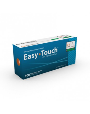 """EASYTOUCH HYPODERMIC NEEDLE 21G, 1"""" (25MM) 100CT"""