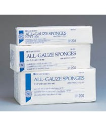 "SPONGE GAUZE HSI NS COTTON 4x4"" 12 PLY 200/PK, 10 PK/CASE"