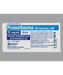 PROMETHAZINE HCL 25MG/ML INJECTION (PHENERGAN) VIALS 25X1ML